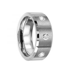 VARIUS Brushed Finish Tungsten Wedding Ring with Center Diamonds Grooved Inlay Design by Crown Ring - 8mm