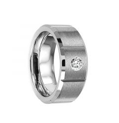 VERGINIUS Brushed & Grooved Tungsten Wedding Ring with White Diamond & Beveled Edges by Crown Ring - 8mm