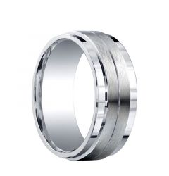 GORHAM Raised Grooved Brush Finished Center Silver Wedding Ring by Benchmark - 9mm