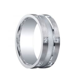 SHELBURN Wide Center Groove Silver Wedding Band with Diamond Edges by Benchmark - 9mm