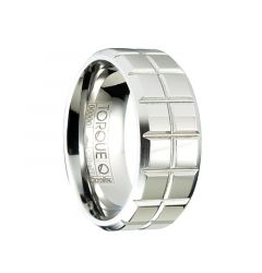 BOWSER Polished Flat Cobalt Wedding Ring with Squared Grooved Pattern by Crown Ring - 9mm