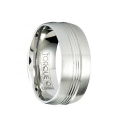 CAGE Brushed Cobalt Flat Wedding Ring with Polished Center Grooves by Crown Ring - 9mm