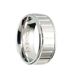 CYRAX Polished Beveled Cobalt Wedding Band with Horizontal Grooves by Crown Ring - 9mm