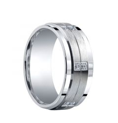 WHITAKER Raised Grooved Brush Finished Center Silver Ring with Dual Diamond Settings by Benchmark - 9mm