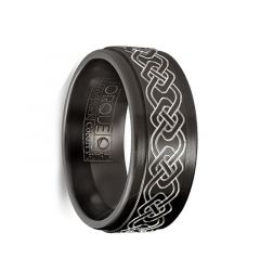 LAFFER Torque Black Cobalt Raised Laser Celtic Knot Polished Edges Wedding Ring by Crown Ring - 9 mm