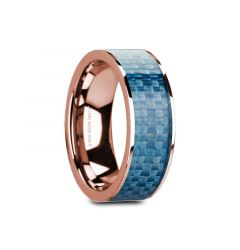 GANESH Flat 14K Rose Gold with Blue Carbon Fiber Inlay and Polished Edges - 8mm