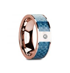 GARTH Flat 14K Rose Gold with Blue Carbon Fiber Inlay & White Diamond Setting - 8mm