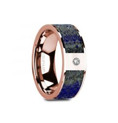GALLUS Flat 14K Rose Gold with Blue Lapis Lazuli Inlay & White Diamond Setting - 8mm