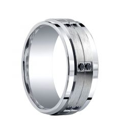 GRANT Raised Grooved Brush Finished Center Silver Ring with Dual Black Diamond Settings by Benchmark - 9mm