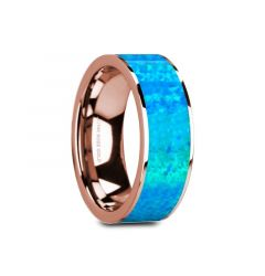 GAGE Flat 14K Rose Gold with Blue Opal Inlay and Polished Edges - 8mm