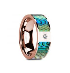 GRETAL Flat 14K Rose Gold with Mother of Pearl Inlay & White Diamond Setting - 8mm