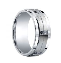 DAVIDSON Raised Grooved Brush Finished Center Silver Ring with Dual Black & White Diamond Settings by Benchmark - 9mm