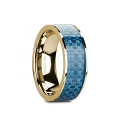 GERYON Flat 14K Yellow Gold with Blue Carbon Fiber Inlay and Polished Edges - 8mm