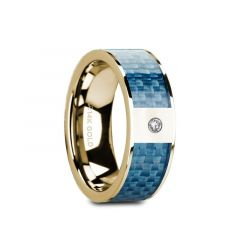 GILES Flat 14K Yellow Gold with Blue Carbon Fiber Inlay & White Diamond Setting - 8mm