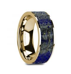 GELASIUS Flat 14K Yellow Gold with Blue Lapis Lazuli Inlay and Polished Edges - 8mm