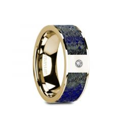 GENE Flat 14K Yellow Gold with Blue Lapis Lazuli Inlay & White Diamond Setting - 8mm