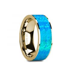 GANYMEDE Flat 14K Yellow Gold with Blue Opal Inlay and Polished Edges - 8mm