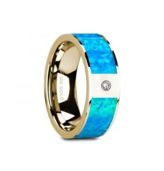 GELASIA Flat 14K Yelloiw Gold with Blue Opal Inlay & White Diamond Setting - 8mm