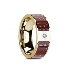 GAIA Flat 14K Yellow Gold with Red Dinosaur Bone Inlay & White Diamond Setting - 8mm