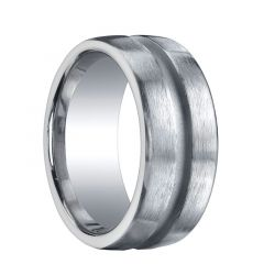 SOCORRO Extra Wide Flat Brushed Finished Silver Wedding Ring with Center Groove by Benchmark - 10mm