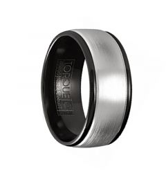 MENETHIL Torque Black Cobalt Brushed Wedding Band Round Edges with Black Inside by Crown Ring - 7 mm