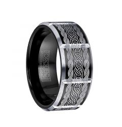 ARTHAS Torque Black Cobalt Wedding Band Polished Laser Celtic Design Beveled Edges with Black Inside by Crown Ring - 9 mm