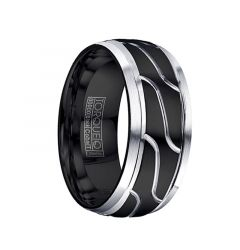 MORTE Torque Black Cobalt Wedding Ring Polished Center Design Brushed Beveled Edges by Crown Ring - 9 mm