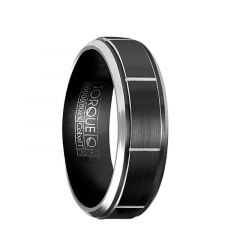NECRID Torque Black Cobalt Brushed Wedding Band Block Center Design Beveled Edges by Crown Ring - 7 mm