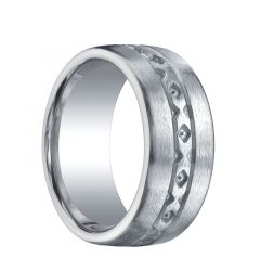 ALHAMBRA Extra Wide Flat Brushed Finished Silver Wedding Band with Textured Center by Benchmark - 10mm