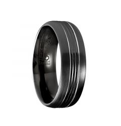 NOCTIS Torque Black Cobalt Brushed Wedding Band Block Center Design Beveled Edges by Crown Ring - 7 mm