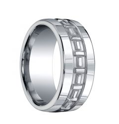 GARVIN Extra Wide Silver Wedding Band with Patterned Center by Benchmark - 10mm