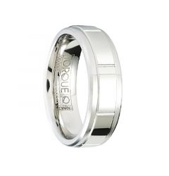 FRANK Polished & Beveled Men's Cobalt Wedding Band with Horizontal Grooves by Crown Ring - 7mm