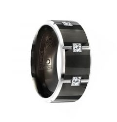 PYRAMID Torque Black Cobalt Polished Wedding Band Vertical Grooved Center Pattern with Diamonds Beveled Edges by Crown Ring - 9 mm
