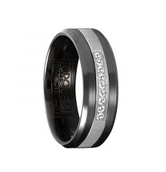 QUAN Torque Black Cobalt Brushed Wedding Band Center Diamond Accents Round Edges by Crown Ring - 7 mm