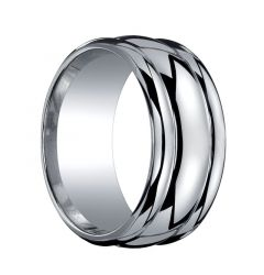 RIPLEY Domed Dual Offset Grooves Silver Wedding Ring by Benchmark - 10mm