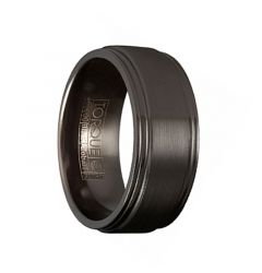 RYU Torque Black Cobalt Wedding Band Brushed Finish with Grooved Edge Accents by Crown Ring - 9 mm