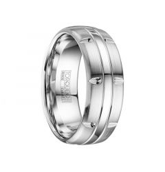 GARCIA Brushed & Polished Men's Cobalt Wedding Band with Cuts & Dual Grooves by Crown Ring - 8mm