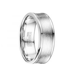 GARRETT Wire Brushed Concave Cobalt Wedding Band with Polished Edges by Crown Ring - 8mm
