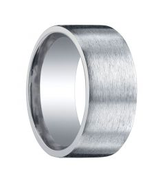 JEFFERSON Extra Wide Flat Brush Finished Silver Wedding Ring by Benchmark - 10mm