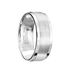 JOHNSON Matte Cobalt Men's Wedding Band with Beveled Edges & 3 Diamonds by Crown Ring - 9mm