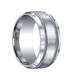 CONESTOGA Extra Wide Brushed Center with Woven Milgrains Silver Wedding Band by Benchmark - 10mm