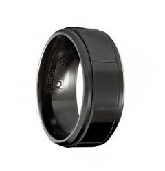 SHADOW Torque Black Cobalt Wedding Band Polished Finish Vertical Line Grooves Beveled Edgesby Crown Ring - 9 mm