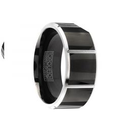 SONIC Torque Black Cobalt Wedding Band Polished Finish Vertical Line Grooved Accents Beveled Edges by Crown Ring - 9 mm