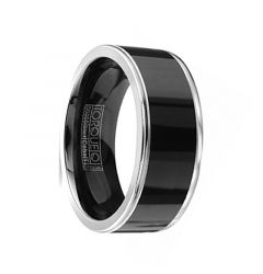 TINGLE Torque Black Cobalt Flat Wedding Band Polished Finish Dual Grooved Edges by Crown Ring - 9 mm