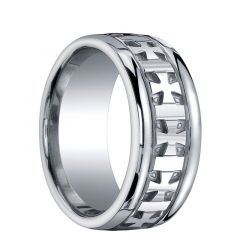 CULBERSON Extra Wide Silver Wedding Band with Celtic Crosses by Benchmark - 10mm
