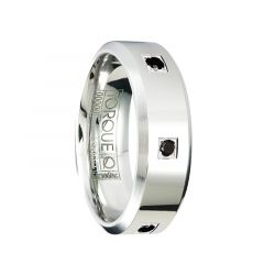 Beveled Polished Cobalt Wedding Band with Black Diamond Accents by Crown Ring - 7mm