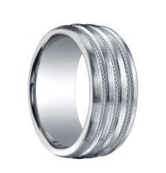 PRESIDIO Extra Wide Brushed Finished Silver Wedding Band with Triple Woven Milgrains by Benchmark - 10mm