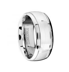 Polished Cobalt Men's Wedding Ring with Dual Grooves by Crown Ring - 9mm