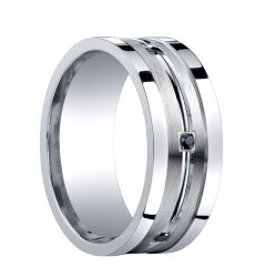 FLAGSTAFF Recessed Brushed Center Silver Wedding Band with Black Diamonds by Benchmark - 9mm