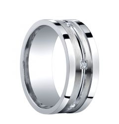 TAOS Recessed Brushed Center Silver Wedding Band with Diamonds by Benchmark - 9mm